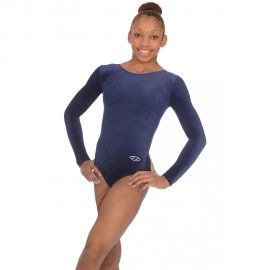 Classic Long Sleeved Smooth Velour Gymnastics Leotard