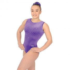 Crystal sleeveless gymnastics leotard